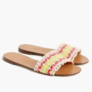 J.crew Womens Raffia Sandals Rainbow Slides